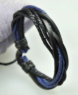 Surfer Multi Leather Hemp Bracelet Wristband Black Blue