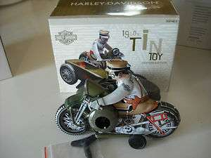 HARLEY DAVIDSON 1950S TIN TOY REPRODUCTION MOTORCYCLE WITH SIDE CAR