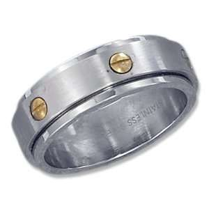 Stainless Steel with Gold Tone Screw 8mm Spinner Band