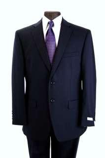 Calvin Klein Mens Suit Solid Navy 2 Button Flat Front Pants Slim Fit