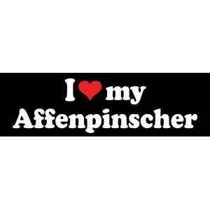 8 I Love My Affenpinscher Dog Lover Vinyl Die Cut Decal