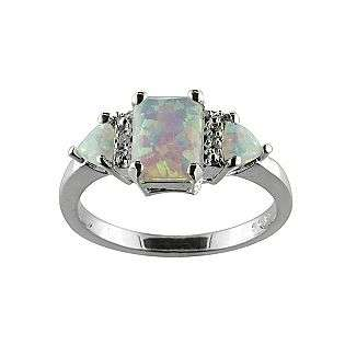 Opal and Diamond Accent Ring Sterling Silver  Jewelry Rings Gemstone