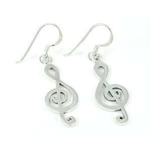 Sterling Silver Musical Note Treble Clef Earrings Jewelry