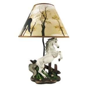 White Rearing Horse Lamp: Home Improvement