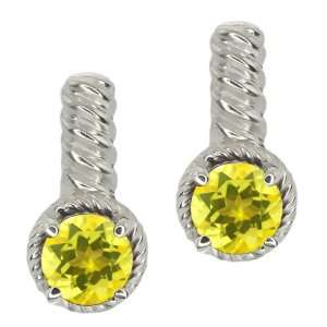 00 Ct Round Canary Mystic Topaz 18k White Gold Earrings Jewelry