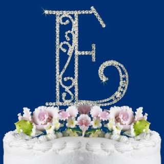 ROMAN STYLE CRYSTAL WEDDING CAKE TOP MONOGRAM LETTER W