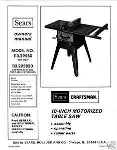 Craftsman Table Saw Manual Model # 113.295820