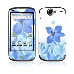 HTC Google Nexus One Decal Skin   Blue Neon Flower