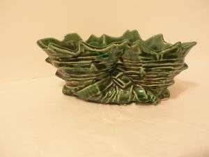 Vintage McCoy Pottery Cornucopia vase planter Green