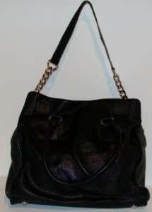 MICHAEL by Michael Kors Hamilton Black Leather Satchel MSRP$298 silver