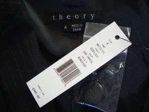 NWT$395 THEORY *MATELDA* SERIOUS Virgin Wool Stripe Suit Jacket Sz 4