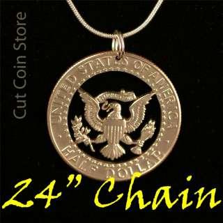 Kennedy Half Dollar Eagle Cut Coin Pendant Necklace