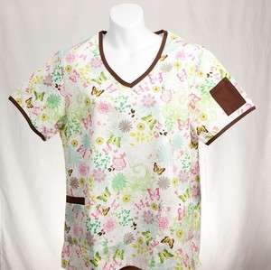 AUTUMN BUTTERFLY Missy Top XL XLARGE Nursing Scrubs
