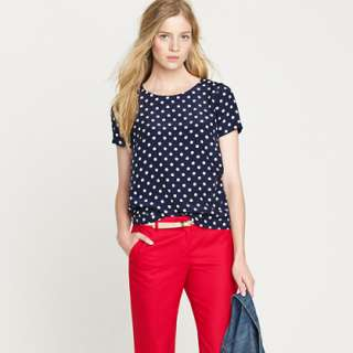 Silk polka dot tee   blouses   Womens shirts & tops   J.Crew
