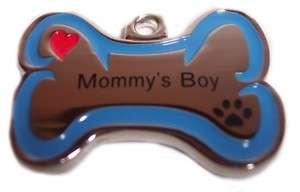 MOMMYS BOY Dog Cat Pet Charm Pendant Name Tag Jewlery