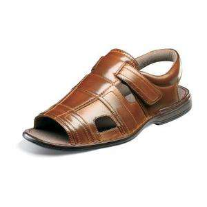Stacy Adams BELMONT Mens Cognac Brown Comfort Open Toe VELCRO Sandal