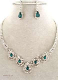 Austrian Crystal Choker Pierced Earring Necklace Set