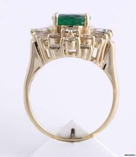 Emerald & VS2 SI1 Diamond Cocktail Ring   14k Yellow Gold Estate