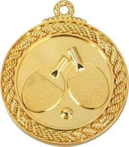 SHINY Gold Ping Pong Table Tennis Medals w/Ribbn