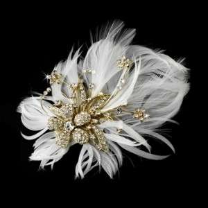 Gold with Ivory Feather Bridal Hair Fascinator Clip