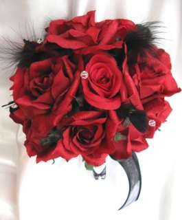 Bridal Bouquet wedding flowers APPLE RED / BLACK