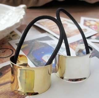 Trend Metallic Mirror Metal Hair Cuff Ponytail Holder Silver Gold Pick