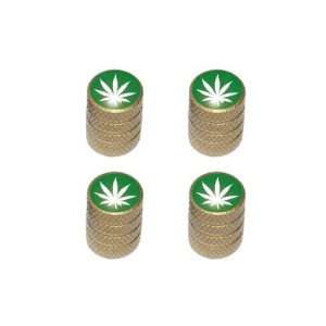 Marijuana Leaf   Weed Pot Tire Valve Stem Caps   Gold Automotive