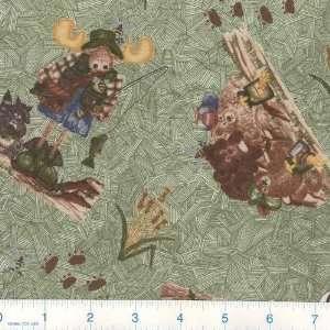 At Summer Camp Bears Green Fabric By The Yard Arts, Crafts & Sewing