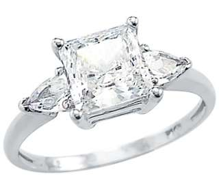 Solid 14k White Gold Princess Cut CZ Engagement Ring