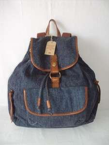 Womens West Coast Denim Backpack Blue Handbag Shoulderbag Purse New