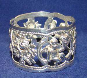 RARE FIGURAL VINTAGE/ANTIQUE NAPKIN RING~835 coin~SOLID STERLING