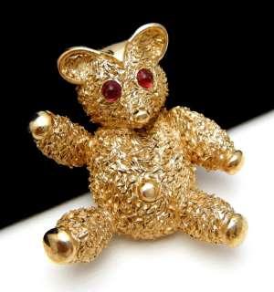 Crown Trifari Teddy Bear Pin Brooch Red Bullet Cab Eyes