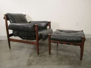 danish modern SWEDISH ROSEWOOD LEATHER CHAIR & OTTOMAN mid century