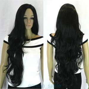 Stylish Extra Long Wavy Black Womens Wig + Cap PA13