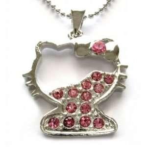 Kitty Pink Swarovski Crystal Necklace Pendant