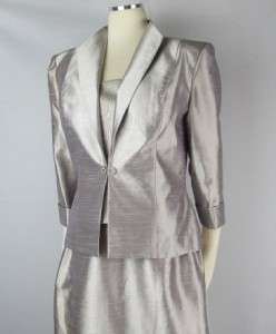 Cachet Taffeta Silver 2 Piece Gown Formal Dress Mother of the Bride