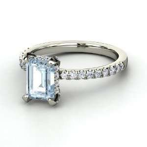 Reese Ring, Emerald Cut Aquamarine Sterling Silver Ring