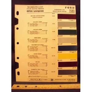 FORD Paint Colors Chip Page Ford Motor Company  Books