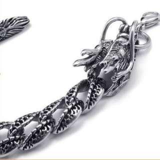 New Cool Men Silver Dragon Stainless Steel Bracelet Bangle Chain Gift
