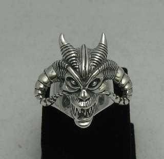 STERLING SILVER RING SKULL BIKER DEVIL GOTHIC SIZE 8 13
