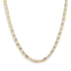 14k Tri Color Gold Valentino Chain Link Necklace 3.8mm Jewelry