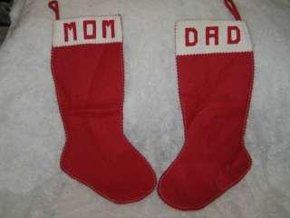 Vintage Christmas Felt Mom & Dad Stocking Set 16