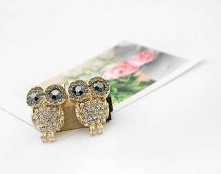 Cute Bling Full Rhinestones Owl Nice Korean Fashion Stud Earrings