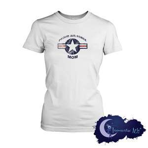 Proud Air Force Mom   Military Supporter Ladies T Shirt