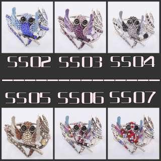 Wide Tibetan Silver Crystal Rhinestone Owl Bangle Open Charm Bracelets