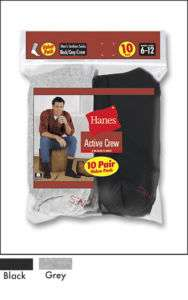 10 Pairs Mens Hanes Work Crew Cotton Black Grey Socks
