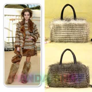 Gray Brown White Idio Punk Lady Fur Handbag Shoulder Bag Long Wool