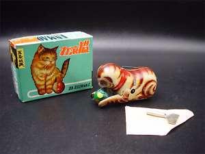 Tin Windup Playful Roll Over Kitty Cat Toy NMIB