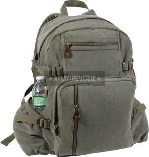 Olive Drab Military Solid Vintage Backpack (Item # 9262OLIVEDRAB)