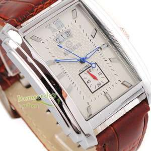 GOER Square White Face Mens Automatic Date Wrist Watch new